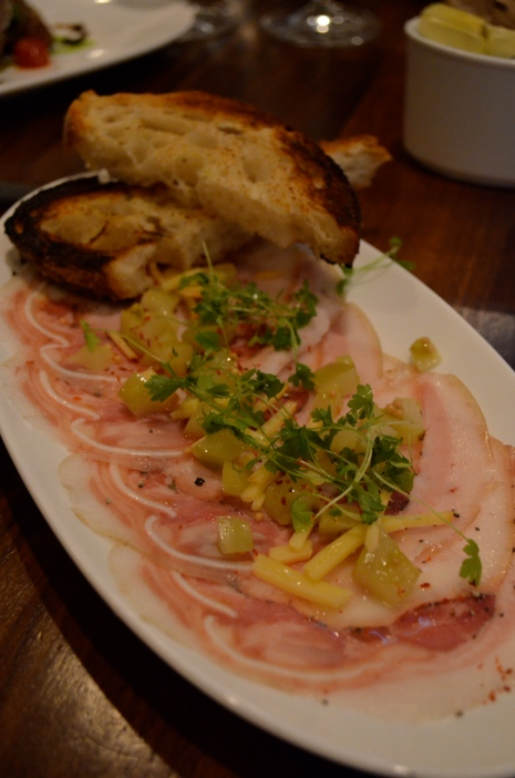 Porchetta di Testa with Green Tomato Relish, Aged Gouda, and Country Bread (c) Winter Shanck, 2014