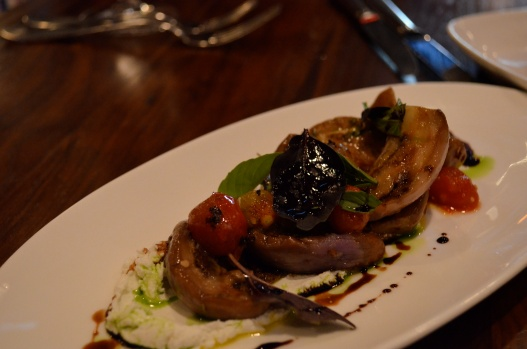 Marinated Eggplant with Goat Cheese, Heirloom Tomato, Aged Balsamic and Basil (c) Winter Shanck, 2014
