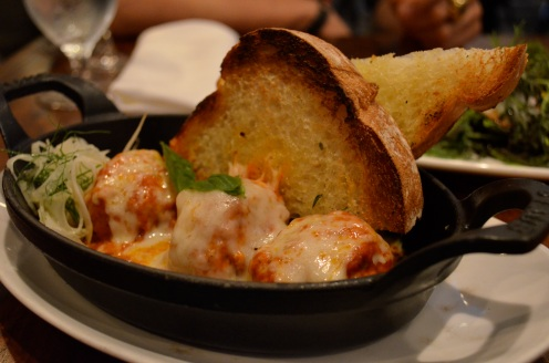 Baked Veal Ricotta Meatballs with Aged Provolone, Pickled Fennel, and Garlic Toast (c) Winter Shanck, 2014