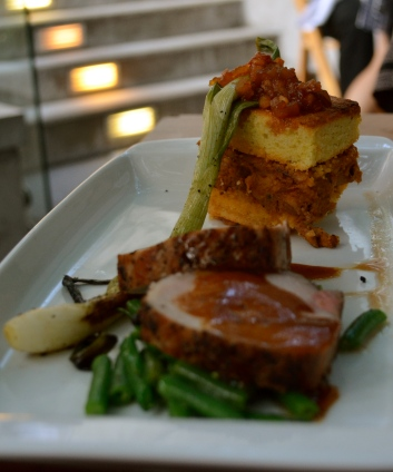 Heritage Pork - seared loin and bbq shoulder corn bread torte with pickled watermelon (c) Winter Shanck, 2014