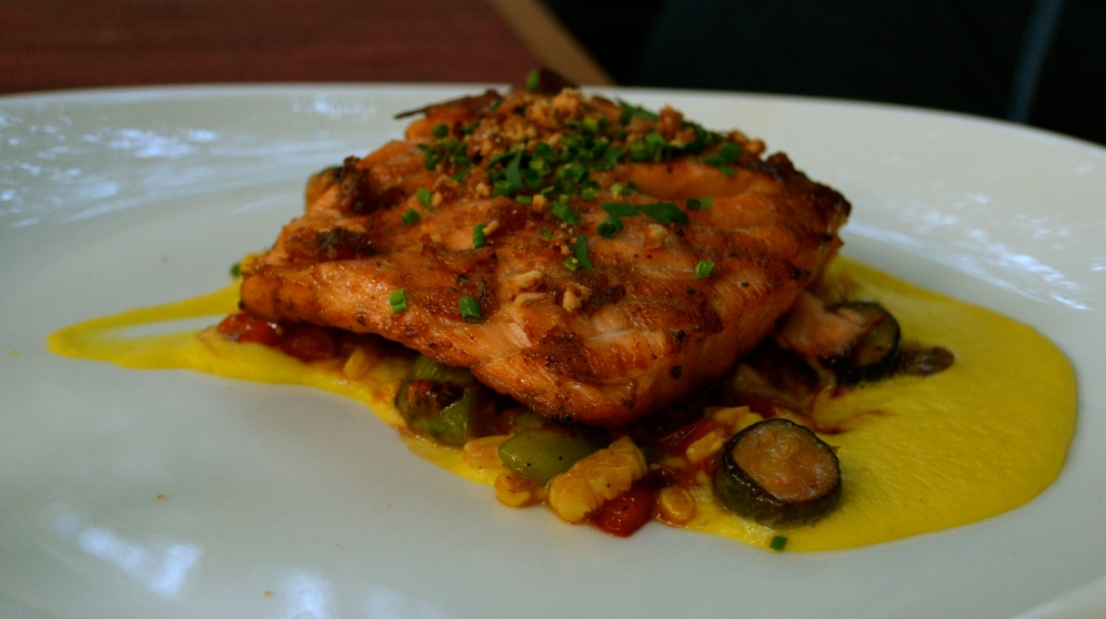 Salmon Steak with fava bean succotash, crazy corn, cashews and poblanos (c) Winter Shanck, 2014