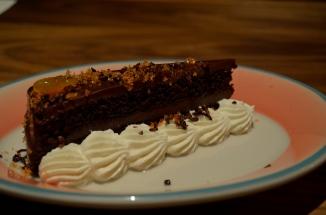 Dark Chocolate Cake, Pasilla Chili Sugar, Whipped Creme Fraiche (c) Winter Shanck, 2014