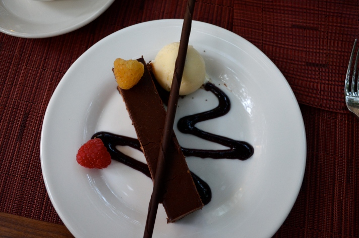 Chocolate Hazelnut Crunch Bar with raspberry ganache and vanilla bean ice cream (c) Winter Shanck, 2014