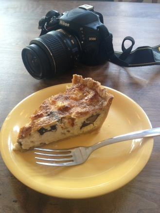 Quiche Lorraine with camera at Bakehouse Bakery, Charleston, SC