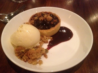 Blueberry Pistachio Crumb Tart with Roasted Corn Ice Cream (c) Winter Shanck, 2014