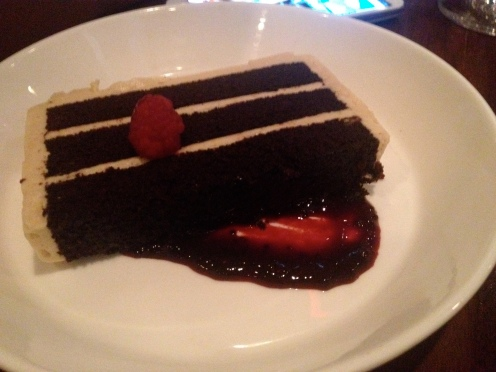 Chocolate Cake with malted Icing and Black Raspberry Sauce (c) Winter Shanck, 2014