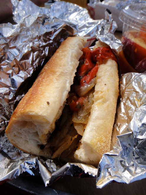 Sausage and Peppers sandwich, Ferragosto Festival, Bronx, NY (c) Winter Shanck, 2014