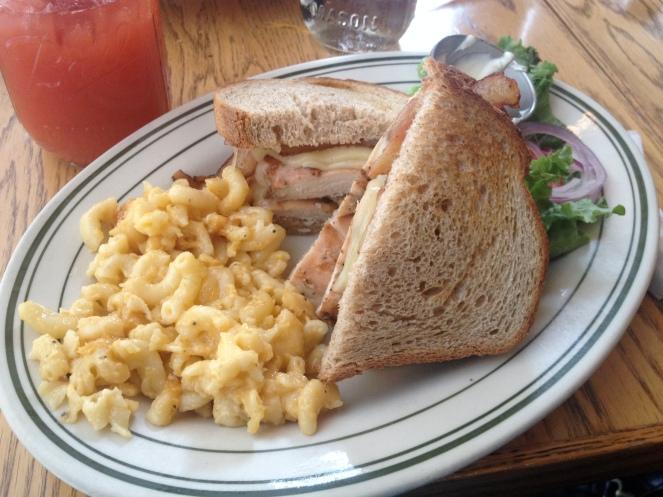 Grilled chicken sandwich with man-n-cheese Comfort (c) Winter Shanck, 2013