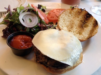 Ground short rib and brisket burger with mixed greens salad Bistro 27 (c) Winter Shanck, 2013